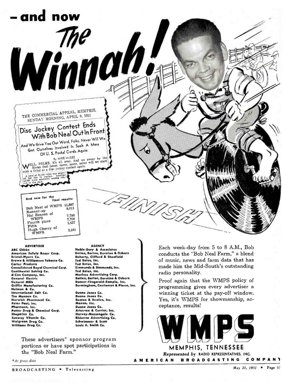 Reklame for Bob Neals radioshow på WMPS